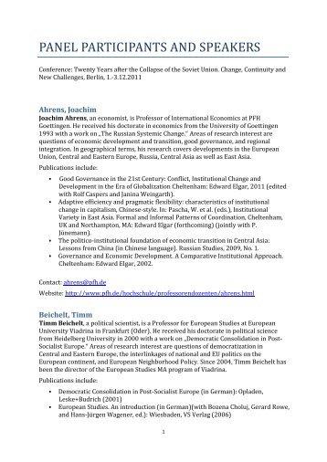 Kurzbiographien - Institutionen und institutioneller Wandel im ...