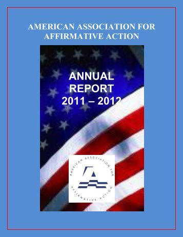 annual report 2011 – 2012 - American Association for Affirmative ...