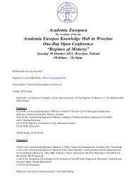 Regimes of Memory - Academia Europaea