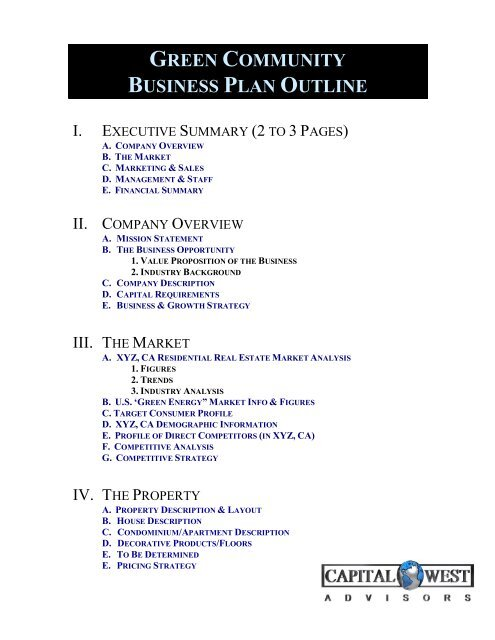 outline business plan