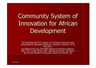 Community System of Innovation for African Development