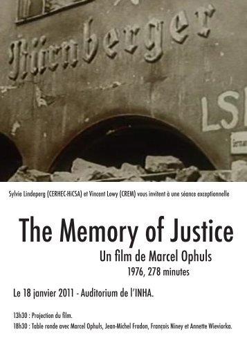 The Memory of Justice - irice - Université Paris 1 Panthéon-Sorbonne