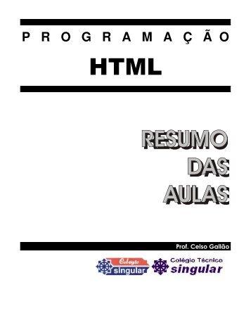 Resumo das Aulas de HTML