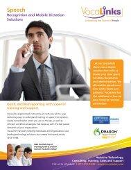 Download Speech Recognition brochure in pdf format - VocaLinks