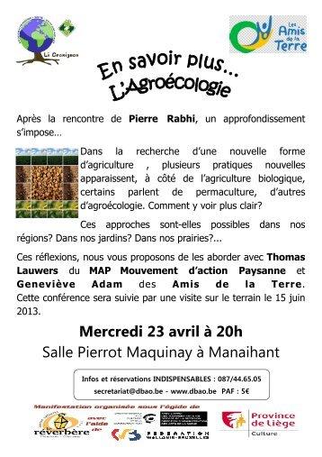 Conférence agroécologie, permaculture - Amis de la Terre