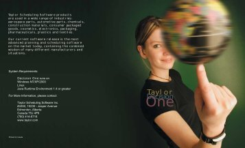 Decision One Brochure - Taylor | Production Scheduling Software