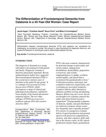 The Differentiation of Frontotemporal Dementia ... - McLean Hospital