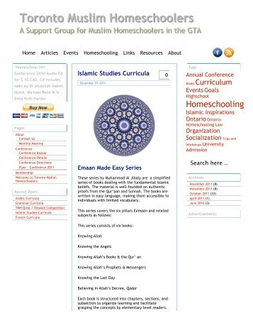 Islamic Studies Curricula Â« Toronto Muslim Homeschoolers