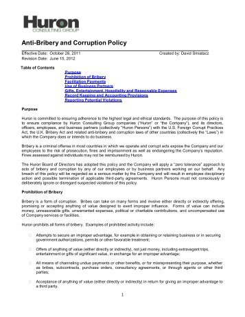 anti bribery and corruption policy huron consulting group