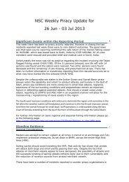 NSC Weekly Piracy Update for 26 Jun - 03 Jul 2013