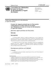 CEDAW Examen des rapports présentés par les États parties ...