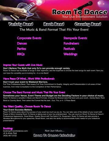 Corporate Events Dances Parties BBQs ... - Room To Dance