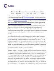 Calix introduces Ethernet service assurance for fiber access solutions