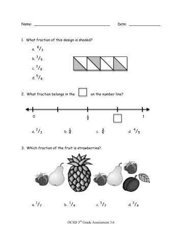 OCSD 3rd Grade Assessment 3.6 Name: Date: 1. What fraction of ...