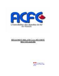 règlement relatif à la sécurité - Railway Association of Canada