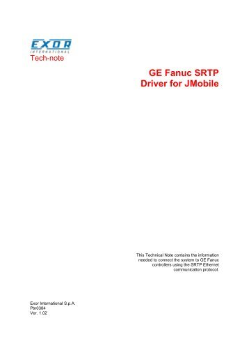 GE Fanuc SRTP Driver for JMobile