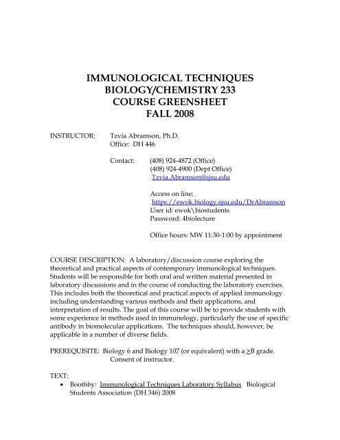 Biol 233, IMMUNOLOGICAL TECHNIQUES (pdf) - Biological Sciences