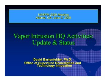 Vapor Intrusion HQ Activities