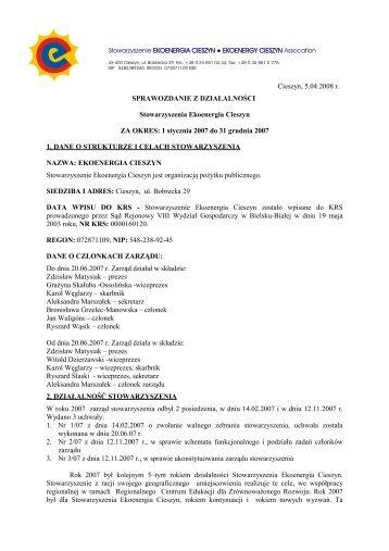 Sprawozdanie merytoryczne i finansowe za 2007 r. - Bazy NGO