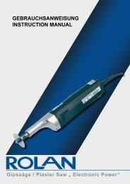 "Gipssäge / Plaster Saw "" Electronic Power""-Download (pdf ... - Rolan"