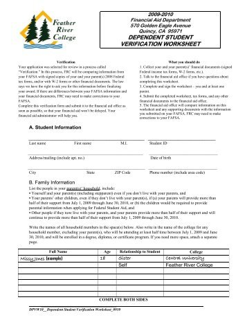 DVC Financial Aid Dependent Verification Worksheet - YouTube