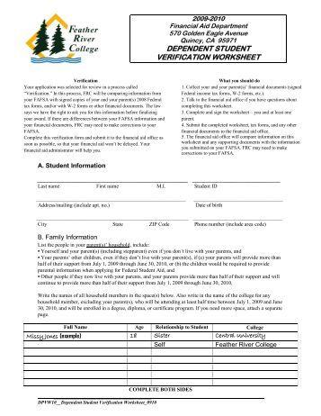 Verification Worksheet Dependent Student Idoc - Worksheets