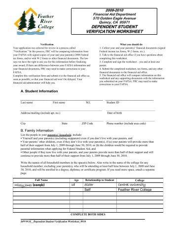 2012-2013 Dependent Verification Worksheet - Valencia College