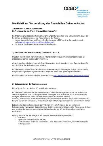 Merkblatt zur Vorbereitung der finanziellen Dokumentation