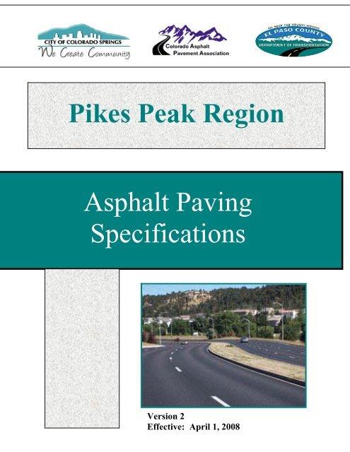 Pikes Peak Regional Asphalt Paving Specification