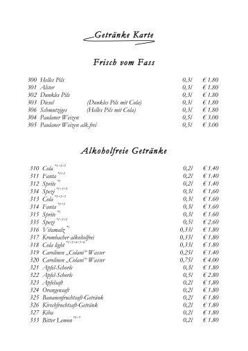 KALTE & WARME GETRÄNKE - Gruppe Thurau Raststätten