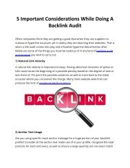 5 Important Considerations While Doing A Backlink Audit