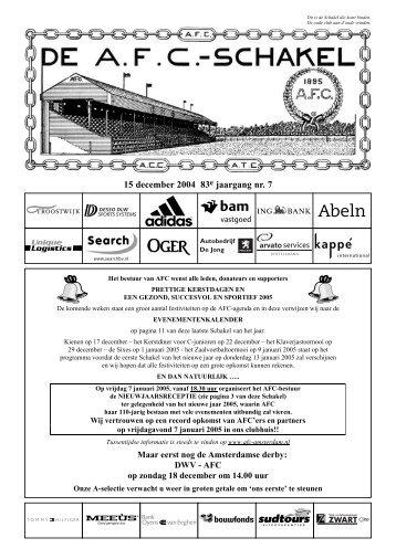 15 december 2004, 83e jaargang nummer 7 - AFC, Amsterdam