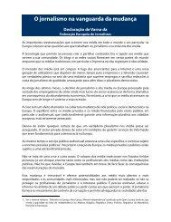 O jornalismo na vanguarda da mudança Declaração de ... - Europe