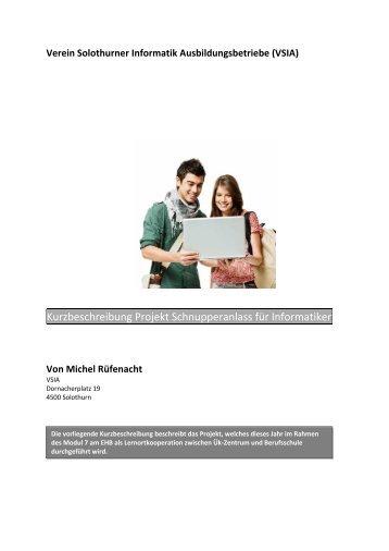 Kurzbeschreibung Projekt Schnupperanlass für ... - ICT-Berufsbildung