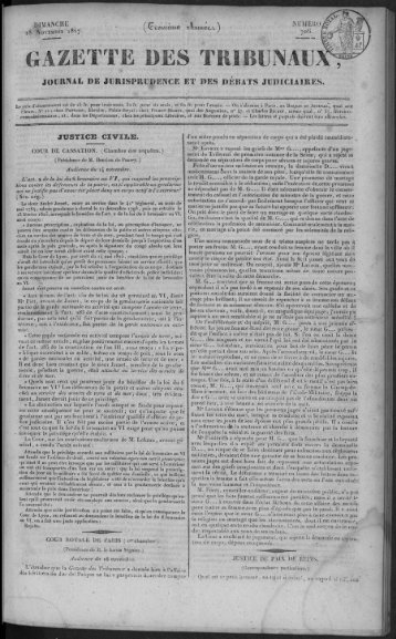 GAZETTE DES TRIBUNAL