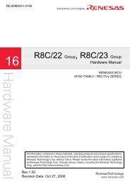 R8C/22 Group, R8C/23 Group HARDWARE MANUAL - Glyn