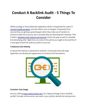 Conduct A Backlink Audit - 5 Things To Consider