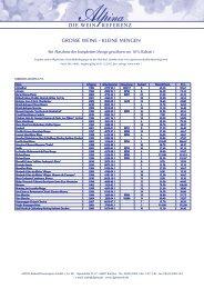 Grosse Weine kleine Mengen 2012 - Alpina Wein