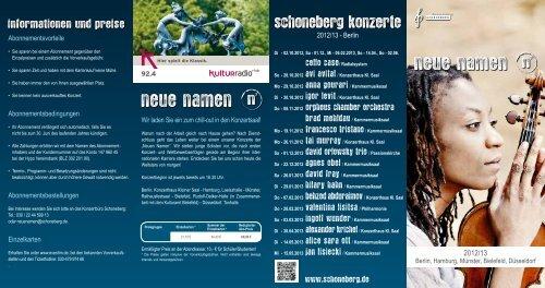 Saisonbroschüre Neue Namen 2012/2013 als PDF - Worte über Musik