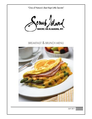 breakfast & brunch menu - Scrub Island Resort, Spa & Marina, BVI
