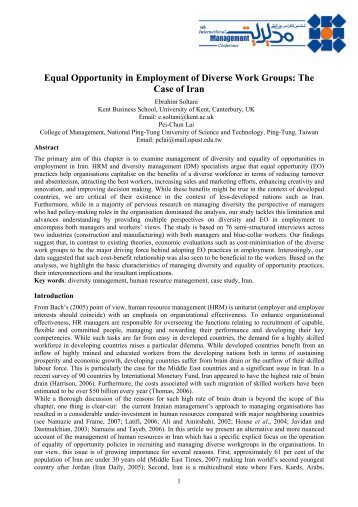 Equal Opportunity in Employment of Diverse Work Groups: The Case ...