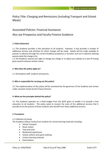 FIN/01 Charging and Remissions - Corby Business Academy