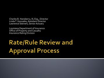 Rate and Rule Review and Approval Process - Louisiana ...