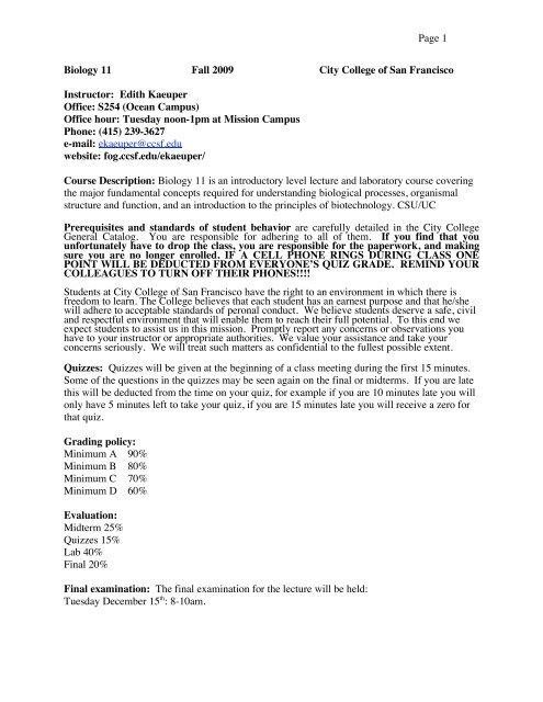 Biology 11syllabus fall 09 - Fog ccsf edu