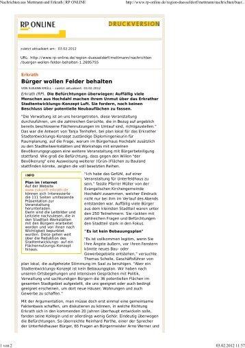 Artikel RP-Online vom 03.02.2012 - Zukunft Erkrath