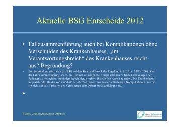Aktuelle BSG Entscheide 2012