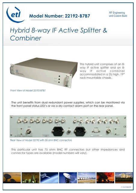 Hybrid 8-way IF Active Splitter & Combiner - ETL Systems