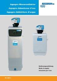 Istruzione d'uso centralina elettronica addolcitore Aquapro