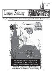 Juli/August 2007 - Auenkirche Berlin-Wilmersdorf