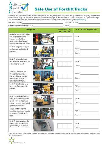 Forklift Truck Operator Pre Use Checks